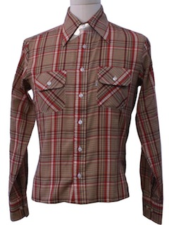 1970's Mens Plaid Western Style Sport Shirt