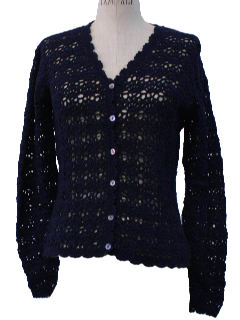 1970's Womens Crocheted Cardigan Sweater