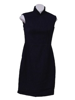 1960's Womens/Girls Mod Wool Cheongsam Wiggle Dress