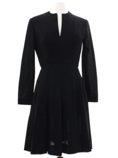 1970's Womens Mod Wool Little Black Dress