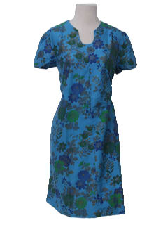 1960's Womens Mod Hawaiin Inspired A-line Day Dress