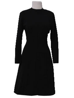 1960's Womens Mod Wool Little Black Dress