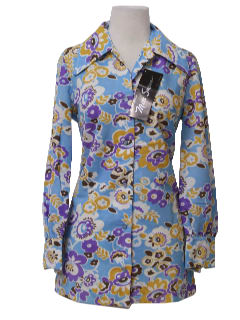 1970's Womens Mod Print Tunic Top Shirt
