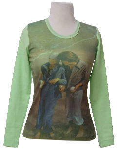 1970's Womens Knit Photo Print Shirt