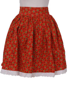 1970's Womens Christmas Red Square Dancing Skirt