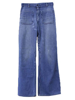1970's Mens Navy Denim Bell Bottoms
