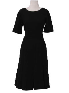 1960's Womens Wool New Look little Black Cocktail Dress