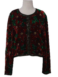 1990's Womens Wicked 90s Beaded Christmas Cocktail Jacket