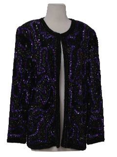 1990's Womens Wicked 90s Beaded Cocktail Jacket