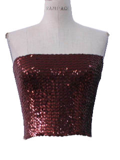 1970's Womens Disco Sequined Cocktail Shirt
