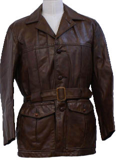 1960's Mens Leather Coat Jacket