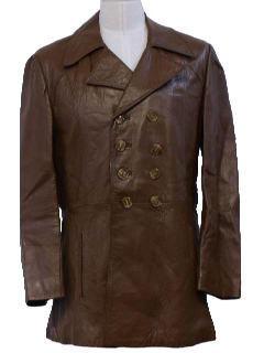 1960's Mens Mod Leather Coat Jacket
