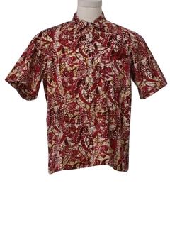 1990's Mens Batik Print Sport Shirt