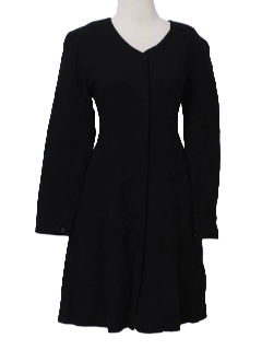 1980's Womens Little Black Wool House Dress