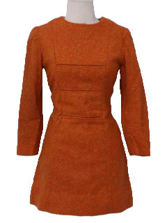 1960's Womens Mod Wool Mini Dress