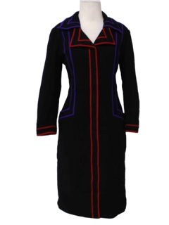 1980's Womens Totally 80s Wool Dress