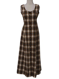 1960's Womens Wool Maxi Dress