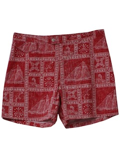 1980's Mens Totally 80s Reverse Print Hawaiian Swim Shorts