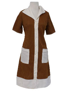 1970's Womens Mod Knit Diner Dress