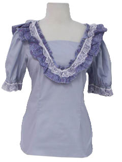 1970's Womens Square Dancing Frilly Shirt