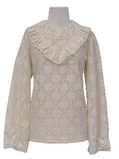 1970's Womens Ruffled Lace Shirt