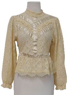 1910's Womens Ruffled Lace Shirt