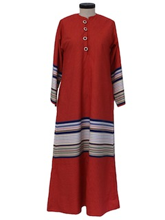 1960's Womens Hippie Lounge Maxi Dress