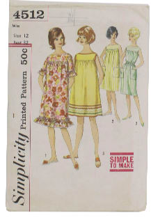 1960's Womens Muu Muu Dress Pattern
