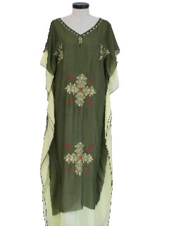 1980's Womens Caftan Hippie Dress