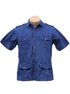 1980's Mens Denim Safari Shirt