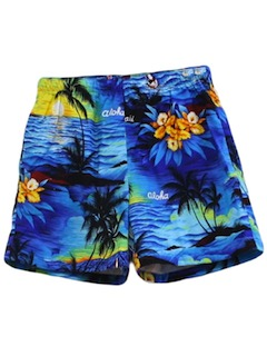 1980's Mens Hawaiian Board Swim Shorts