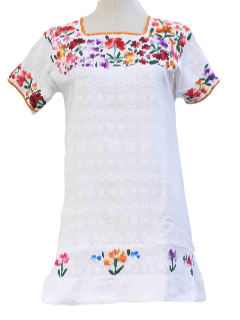 1980's Womens Embroidered Hippie Tunic Shirt