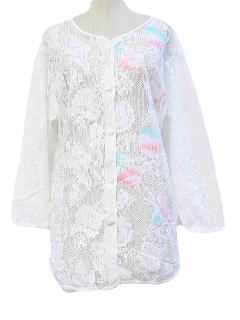 1980's Womens Lace Beach Shirt