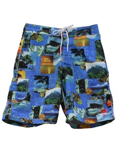 1990's Mens Photo Print Wicked 90s Board Shorts