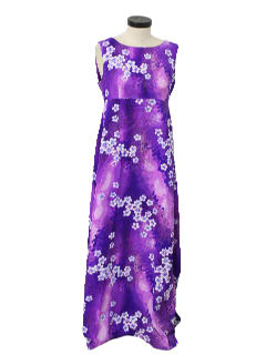 1960's Womens Maxi Hawaiian Dress