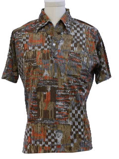 1970's Mens Resort Wear Style Print Disco Shirt*