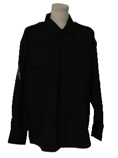 1990's Mens Rent-A-Cop Style Work Shirt