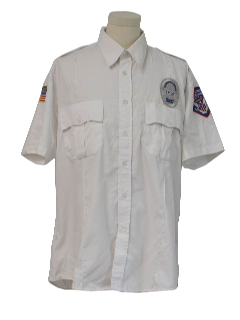 1990's Mens Grunge Rent-A-Cop Style Work Shirt