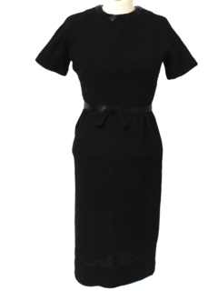 1950's Womens Fab Fifties Little Black Wool Cocktail Dress