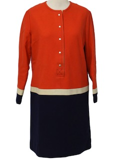 1960's Womens Mod Wool A-line Dress