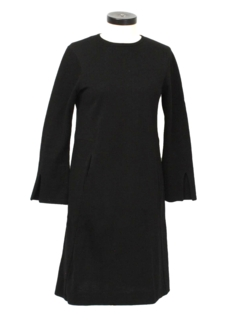 1960's Womens Designer Mod Wool A-Line Dress