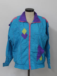 1980's Womens Totally 80s Oversized Track Style Windbreaker Jacket