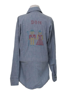 1970's Unisex Embroidered Chambray Hippie Shirt