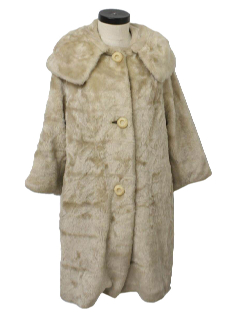 1950's Womens Faux Fur Mod Car Duster Wedge Coat Jacket
