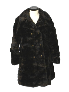 1960's Womens Faux Fur Duster or Wedge Coat Jacket
