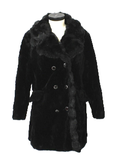 1970's Womens Faux Fur Duster or Wedge Coat Jacket
