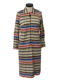 1970's Womens Psychadelic Mod A-Line House Dress