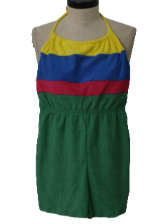 1980's Womens Terry Cloth Romper Jumpsuit