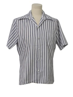 1970's Mens Striped Print Disco Style Sport Shirt