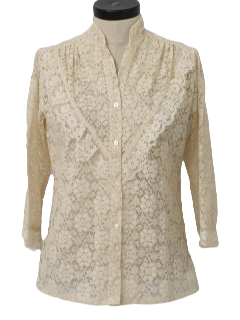 1970's Womens Frilly Lace Shirt